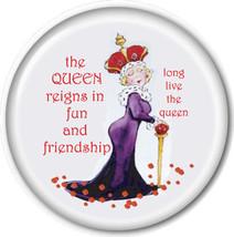 "PURSE MIRROR W/ ORGANZA BAG RED HAT LADIES ART ""THE QUEEN REIGNS IN FUN""... - $7.91"