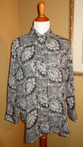 DIANE VON FURSTENBERG ~ SMALL MEDIUM BLACK WHITE PAISLEY BUTTON DOWN BLO... - $12.86