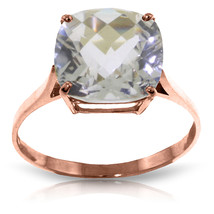 3.6 Carat 14K Solid Rose Gold Ring Natural Checkerboard Cut White Topaz - £179.64 GBP