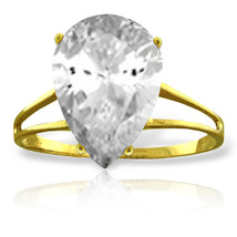 Brand New 5 Carat 14K Solid Gold Ring Natural White Topaz - £160.09 GBP