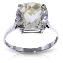 3.6 Carat 14K Solid White Gold Ring Natural Checkerboard Cut White Topaz - $246.14