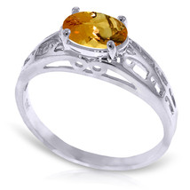 Brand New 1.15 Carat 14K Solid White Gold Filigree Ring Natural Citrine - £162.80 GBP