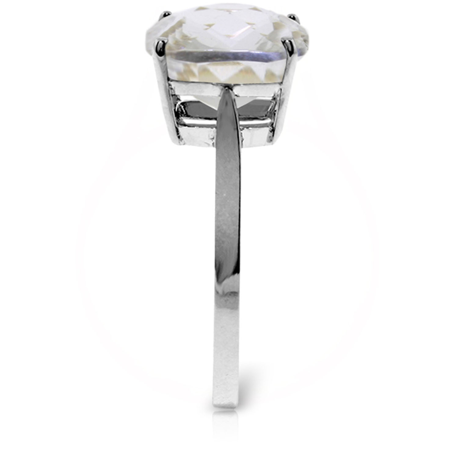 3.6 Carat 14K Solid White Gold Ring Natural Checkerboard Cut White Topaz