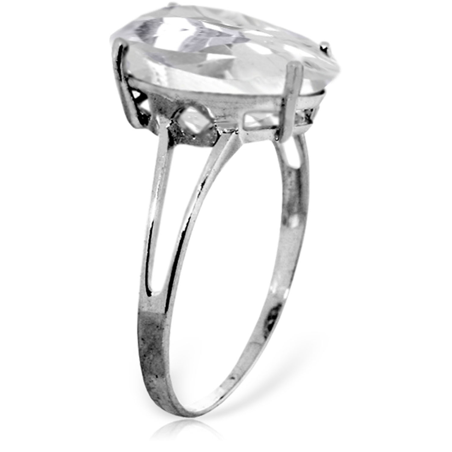 Brand New 5 CTW 14K Solid White Gold Ring Natural White Topaz
