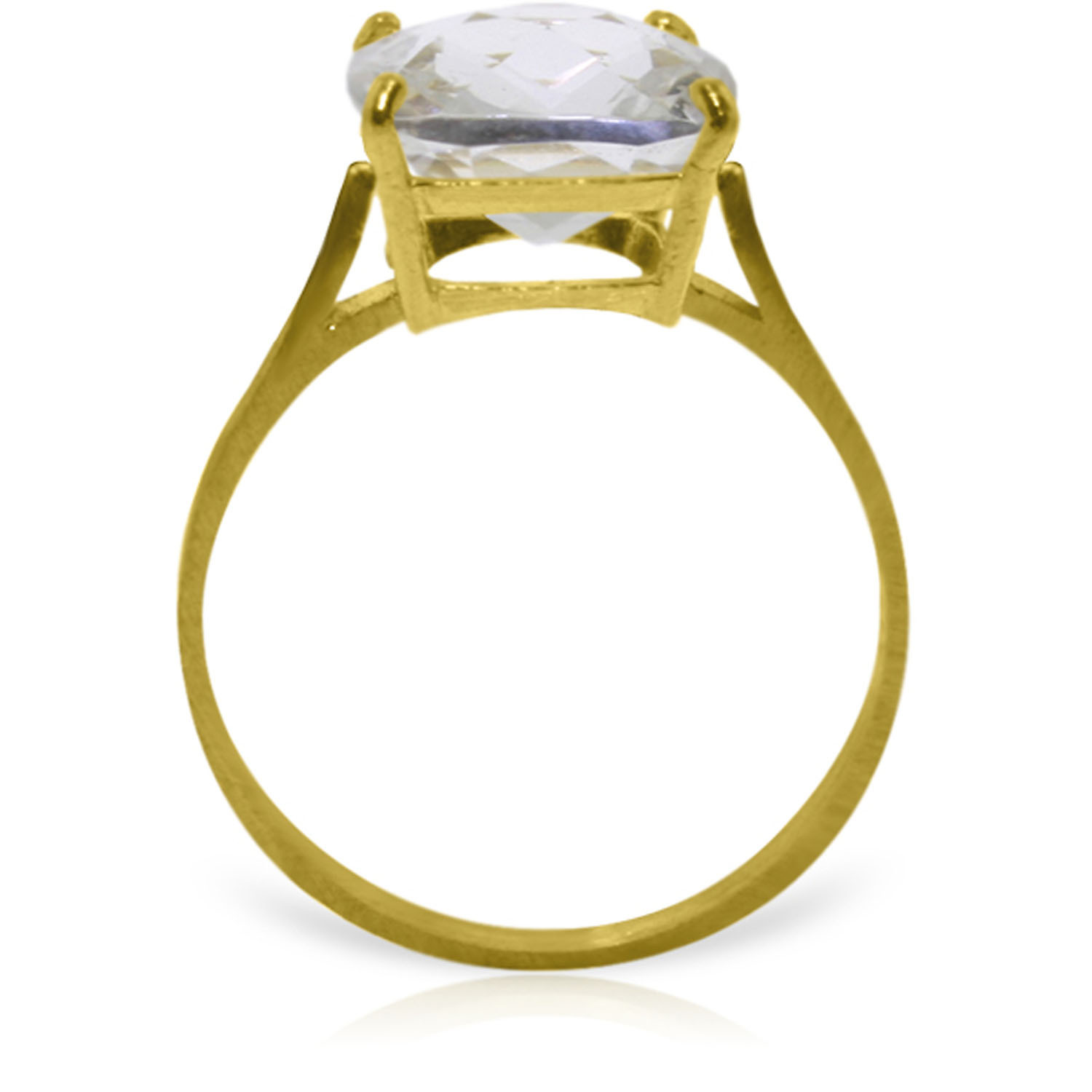 Brand New 3.6 Carat 14K   Gold Ring Natural Checkerboard Cut White Topaz