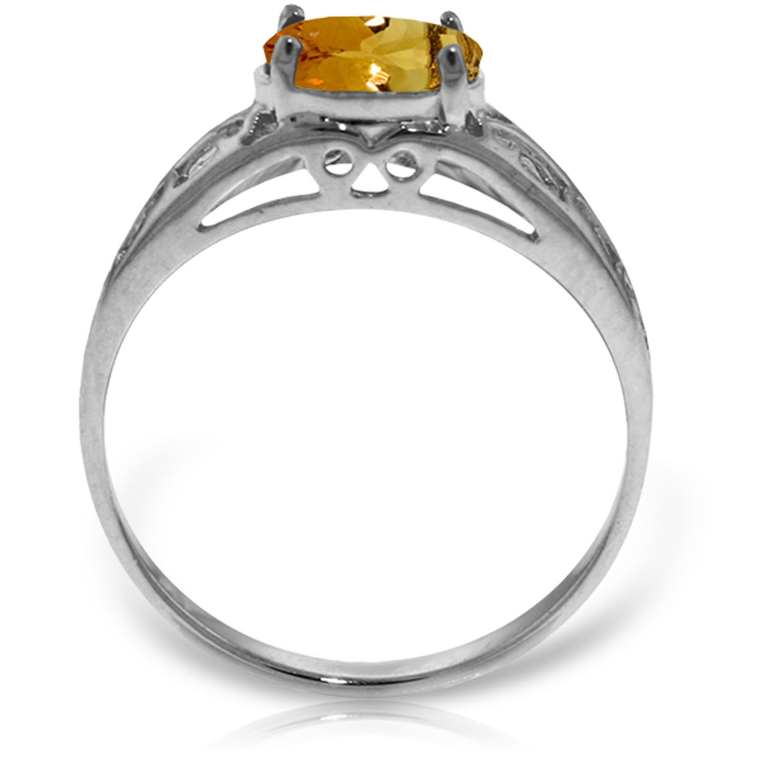 Brand New 1.15 Carat 14K Solid White Gold Filigree Ring Natural Citrine