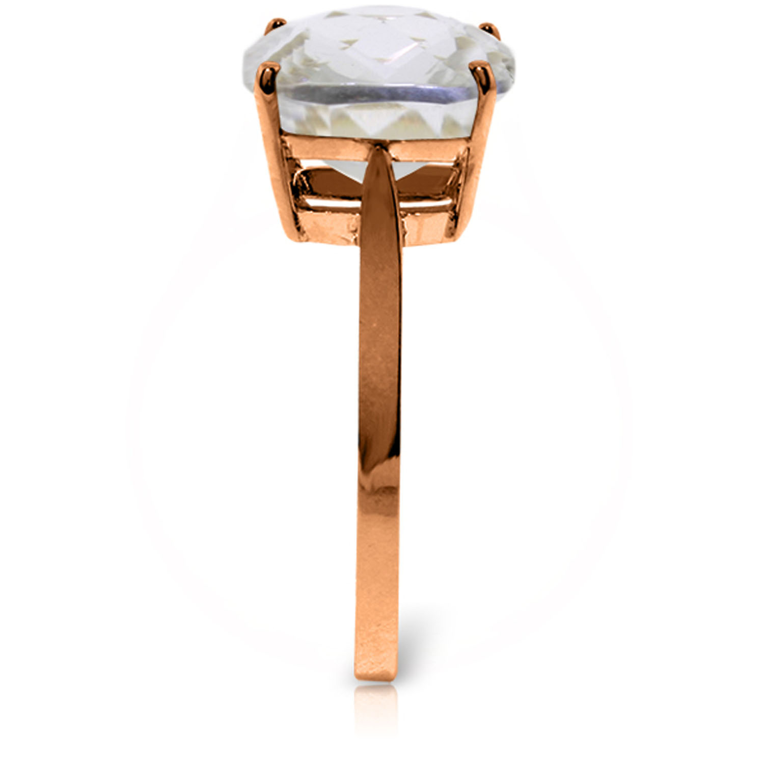 3.6 Carat 14K Solid Rose Gold Ring Natural Checkerboard Cut White Topaz