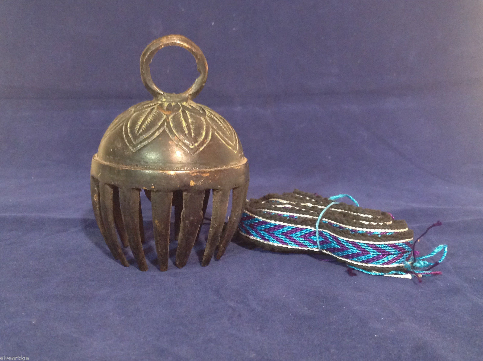 "Large Ornate Tibetan Cowbell Cow Bell w/ Colorful Hand-Woven Strap #2 4.5"" x 3"""