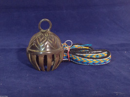 Ornate Tibetan Cowbell Cow Bell w/ Colorful Hand-Woven Strap 3.25 X 2.25 #2