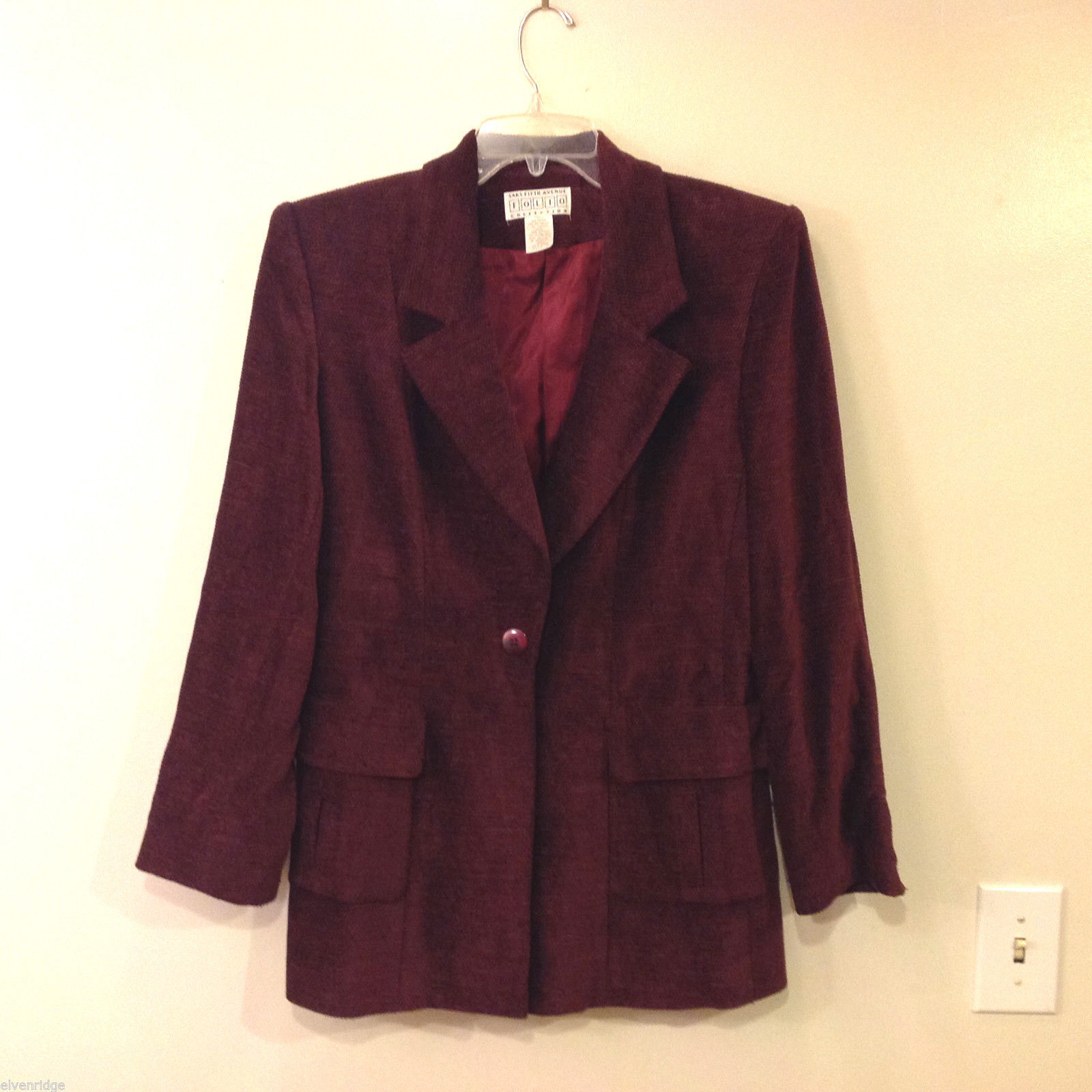 Saks Fifth Folio Women's Size 8 Blazer-Look Coat Burgundy Maroon Dark Purple Red
