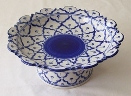 "CERAMIC PLATTER w/ STAND Asian Blue & White Imported PLATE 6"" Diameter M... - $16.36"