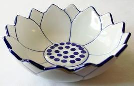 CERAMIC BOWL Lotus Flower Thai Asian Blue & Whi... - $19.53