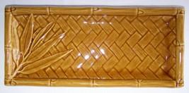 CERAMIC Bamboo Long Rectangle PLATE Asian Golde... - $13.45