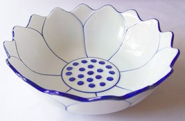 "CERAMIC BOWL Lotus Flower THAI ASIAN Blue & White THAILAND 8"" Diameter M... - $20.42"