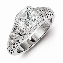 VINTAGE STYLE STERLING SILVER FILIGREE CZ RING - SIZE 8 - $38.45