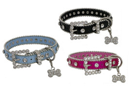 FANCY LEATHER DOG COLLAR ADORNED W/ RHINESTONES / BLING & CHARM COMES IN... - $19.95