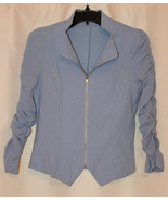 PALE BLUE LIGHT CROP JACKET TOP FRONT ZIPPER PADDED SHOULDERS RUCHED SLE... - $12.99