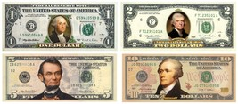 Set of 4 COLORIZED 2-SIDED US Bills Currency $1/$2/$5/$10 Legal Tender B... - $69.95