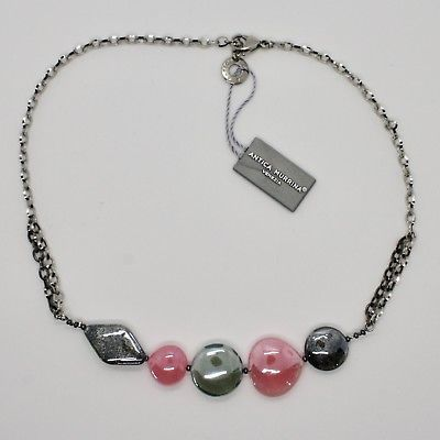 NECKLACE ANTIQUE MURRINA VENICE WITH MURANO GLASS ROSE AND GRAY COA87A45