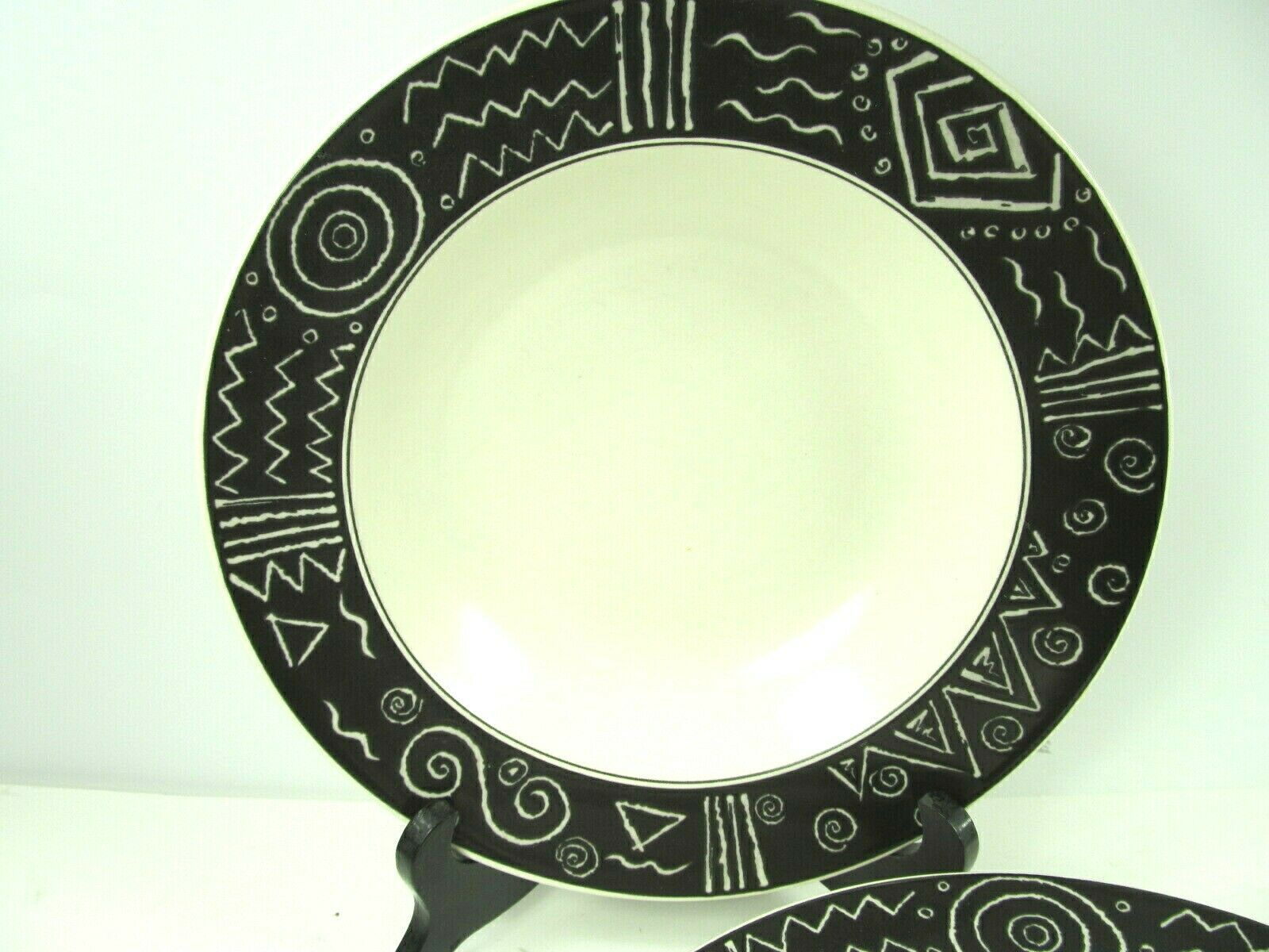 Primary image for Mikasa Star Tracks 9 1/4 Rimmed Soup Bowls -Set Of 4- Black Rim White Geometrics