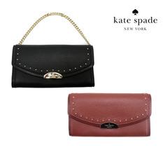 Nwt Kate Spade New York Milou Wristlet Wallet Chain Studs Black Brown WLRU4900 - $88.00
