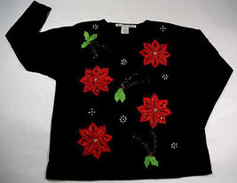 VICTORIA JONES UGLY CHRISTMAS TOP WOMENS L LARGE RED POINSETTIA BEADS - $25.24