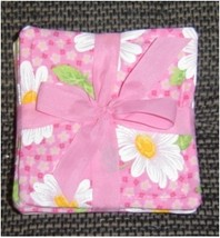 Pink Fabric Coaster set of 6 - White Daisies on... - $4.00
