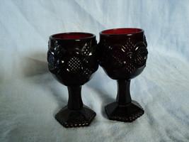 Two Avon Ruby Red Wine Glass Goblets Presidents Celebration 1976  - $9.50