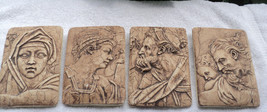 Four Ancient Greek Portraits Wall Plaques Chalkware Plaster of Paris Wal... - $37.99