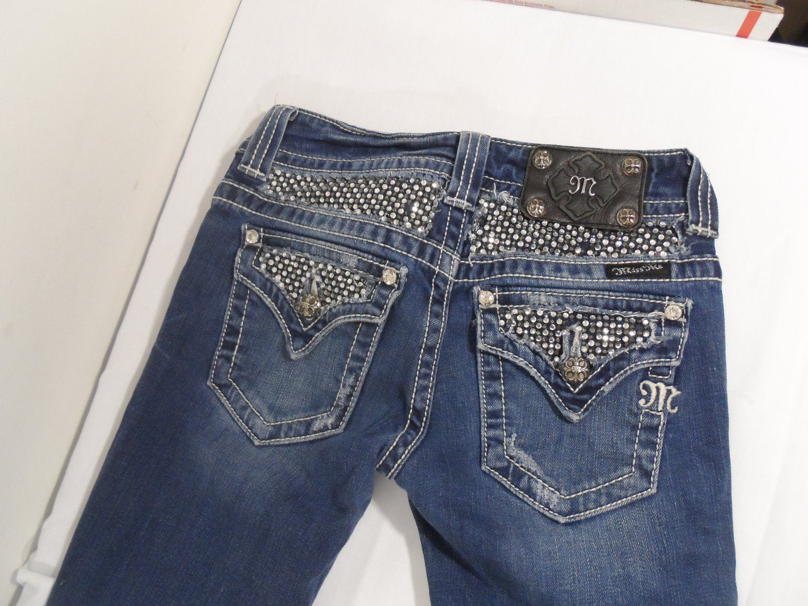 Miss Me Size 26 # JP5002-13 Boot Cut Jeans Bling Back Womens Inseam 33