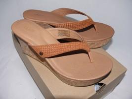 UGG Australia Natassia Leather Wedge Gold Wash Sandals 1004396 size 11 cork - $56.09