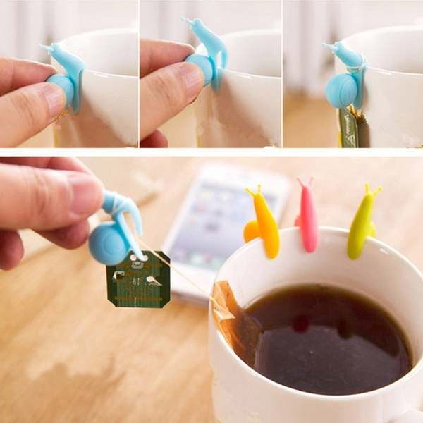5pcs Cute Snail Style Mini Tea Bag Holders Hanging Cup Clips Random Color