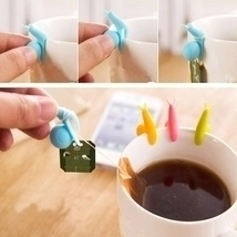5pcs Cute Snail Style Mini Tea Bag Holders Hanging Cup Clips Random Color - £9.25 GBP