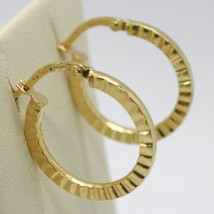 18K YELLOW GOLD CIRCLE HOOPS STRIPED AND HAMMERED EARRINGS 21 MM x 2 MM,... - $172.00