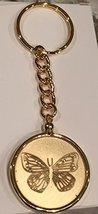 Butterfly Serenity Prayer Medallion Keychain Chip Holder Gold Plated - $11.87