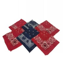 Lot Vintage Bandanas Red Blue Fast Color Made In USA All Cotton Mixed Pa... - $28.01