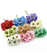 6pcs/lot 14colors Silk Cherry Blossoms Small Artificial Poppy Bouquet We... - $0.98