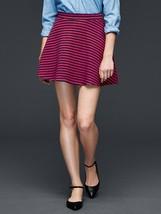 Gap Women Skater Skirt S M Navy Red Striped Flare Jersey Banded Waist New Cotton - $24.95
