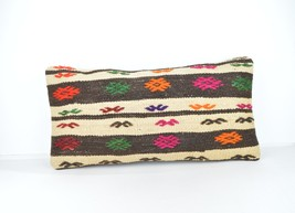 Kilim lumbar Pillow  back kilim cushion back kilim pillow - $18.00