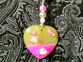 Yellow Pink Heart Agate Pendant Black Necklace OOAK beads flower wire wr... - $24.74