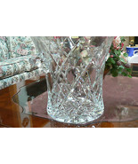 Beautiful Polonia 24% Lead Crystal Large Cross Marks Star Ice Bucket W/H... - $197.99