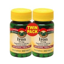 Spring Valley - Iron 65 mg, 200 Tablets - Equivalent to 325 mg Ferrous S... - $20.44