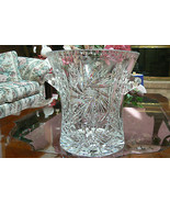 Gorgeous Unmarked Lead Crystal Large Pinwheel Cut Ice Bucket W/Handles - $247.49