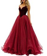 Fanmu Sweetheart Tulle Long Prom Dress Evening Gowns Burgundy US 20plus - $149.99