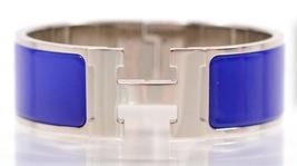 Authentic HERMES Clic Clac Wide Bracelet H ROYAL BLUE SHW Bangle RECEIPT