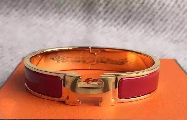 authentic hermes clic clac bracelet h red gold ghw bangle pm enamel bracelets. Black Bedroom Furniture Sets. Home Design Ideas