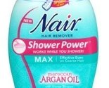 Nair Hair Remover Shower Power Max Argan Oil 13 Ounce Pump (384ml) (2 Pack)