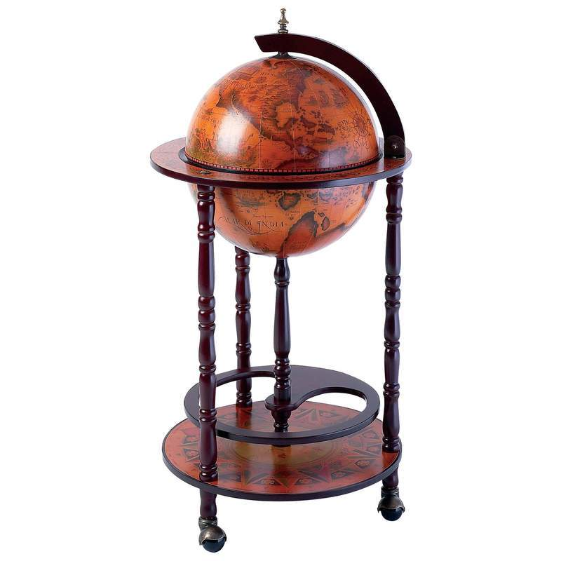 Home Bar Bottle Holder AntiqueFrescoe Replica of Italian Hand Painted 1600 Globe