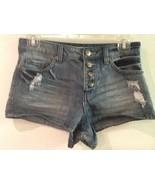 Womens juniors Forever 21 Los Angeles DISTRESSED denim jean blue short s... - $12.95