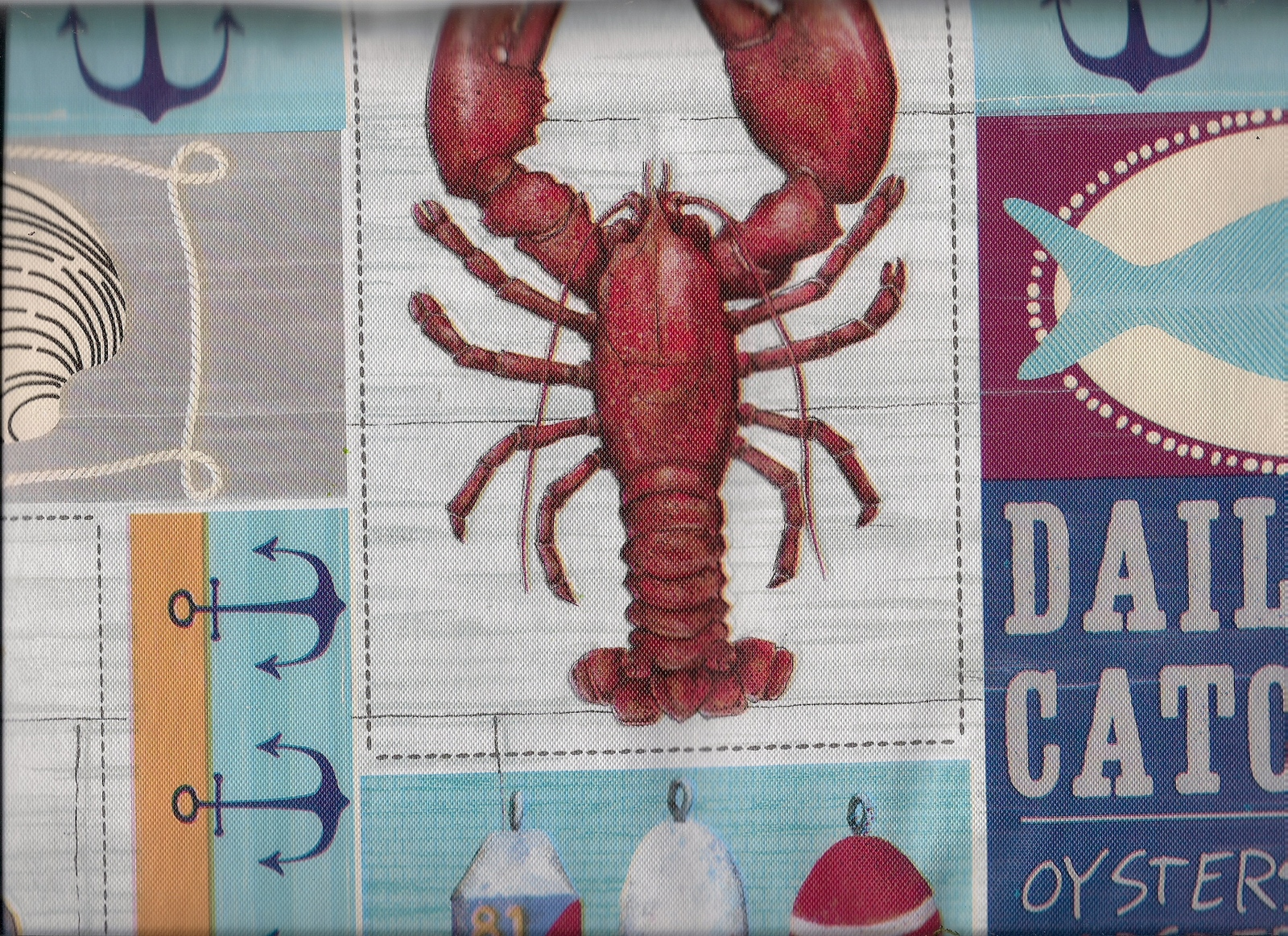 Lobster Daily Catch Nautical clambake seaside oysters Vinyl Tablecloth flannel